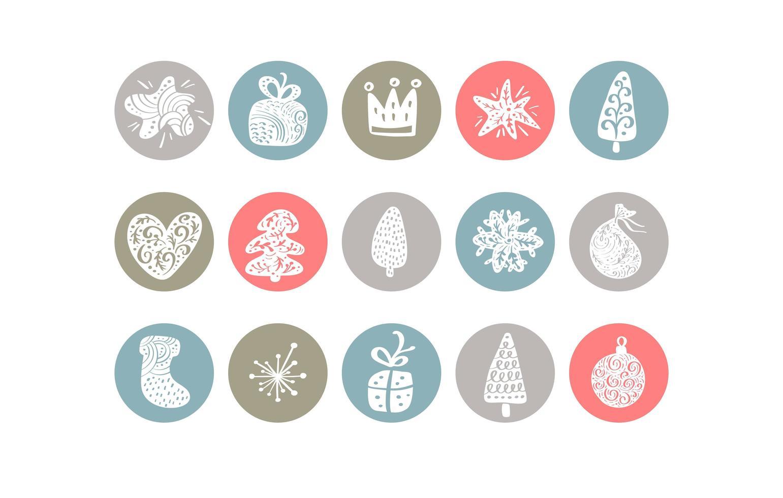 evidenziazione pastello collezione di icone di elementi natalizi vettore