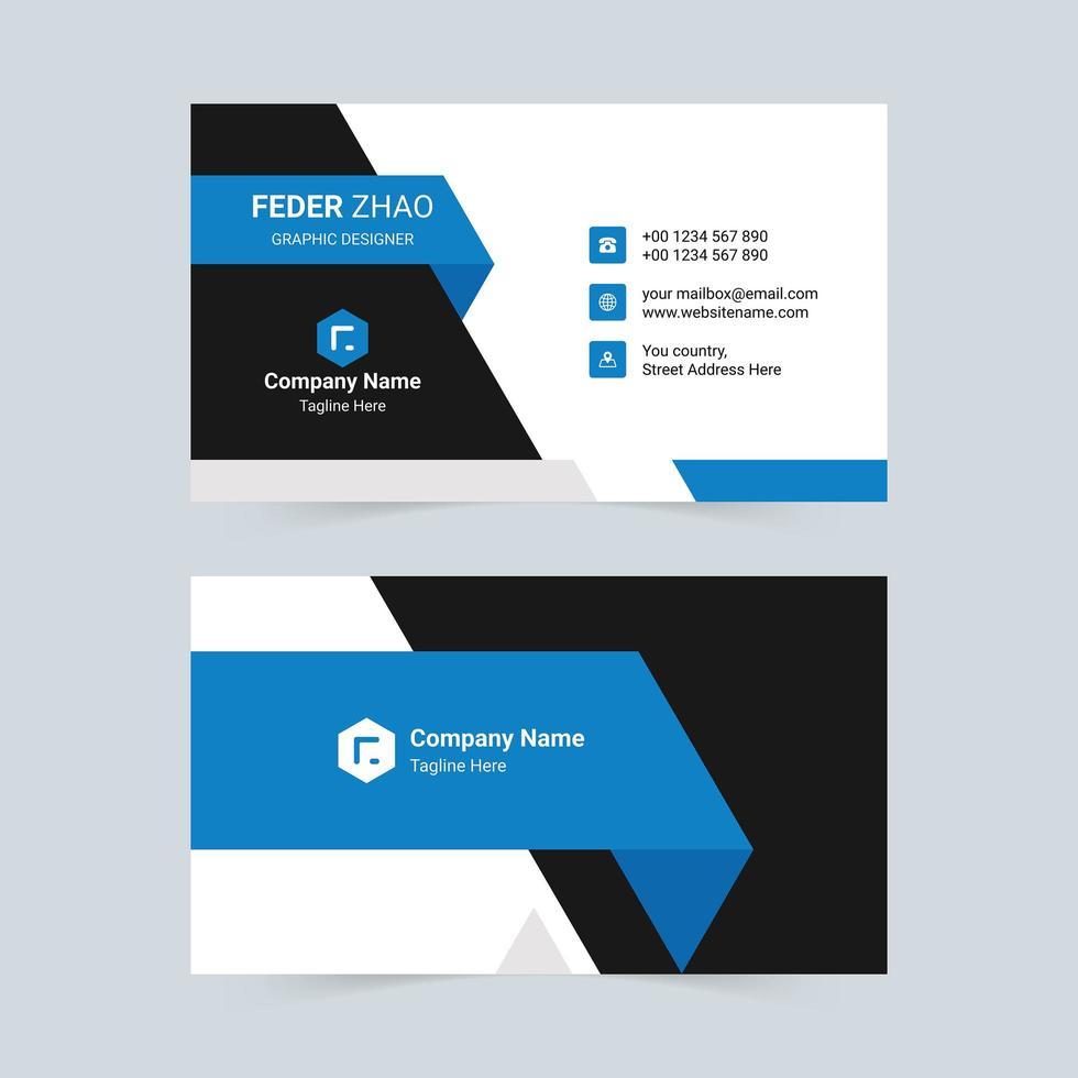 biglietto da visita aziendale blu vettore