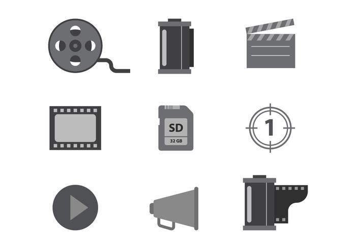 Icone vettoriali di cinema e film in scala di grigi