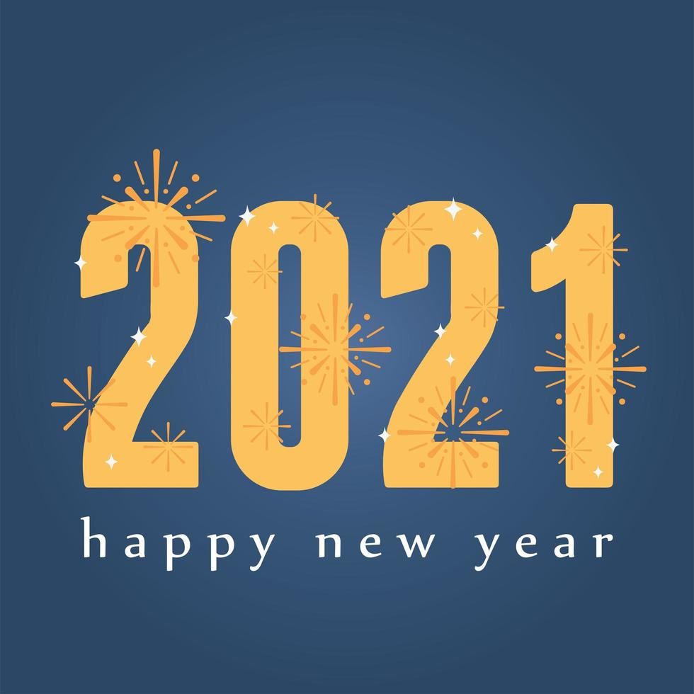 felice anno nuovo 2021 lettering banner vettore