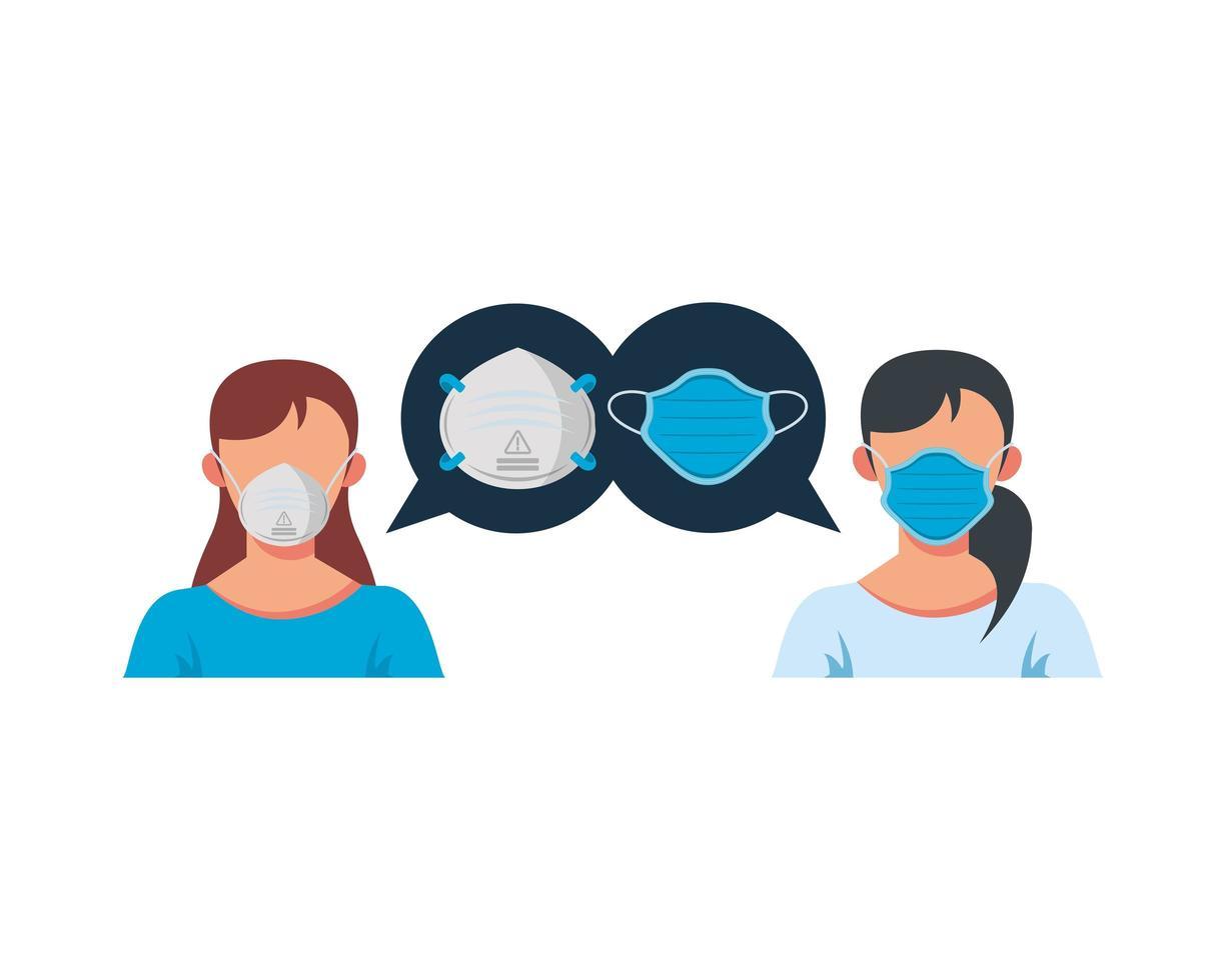 giovani donne che indossano carattere maschera medica vettore
