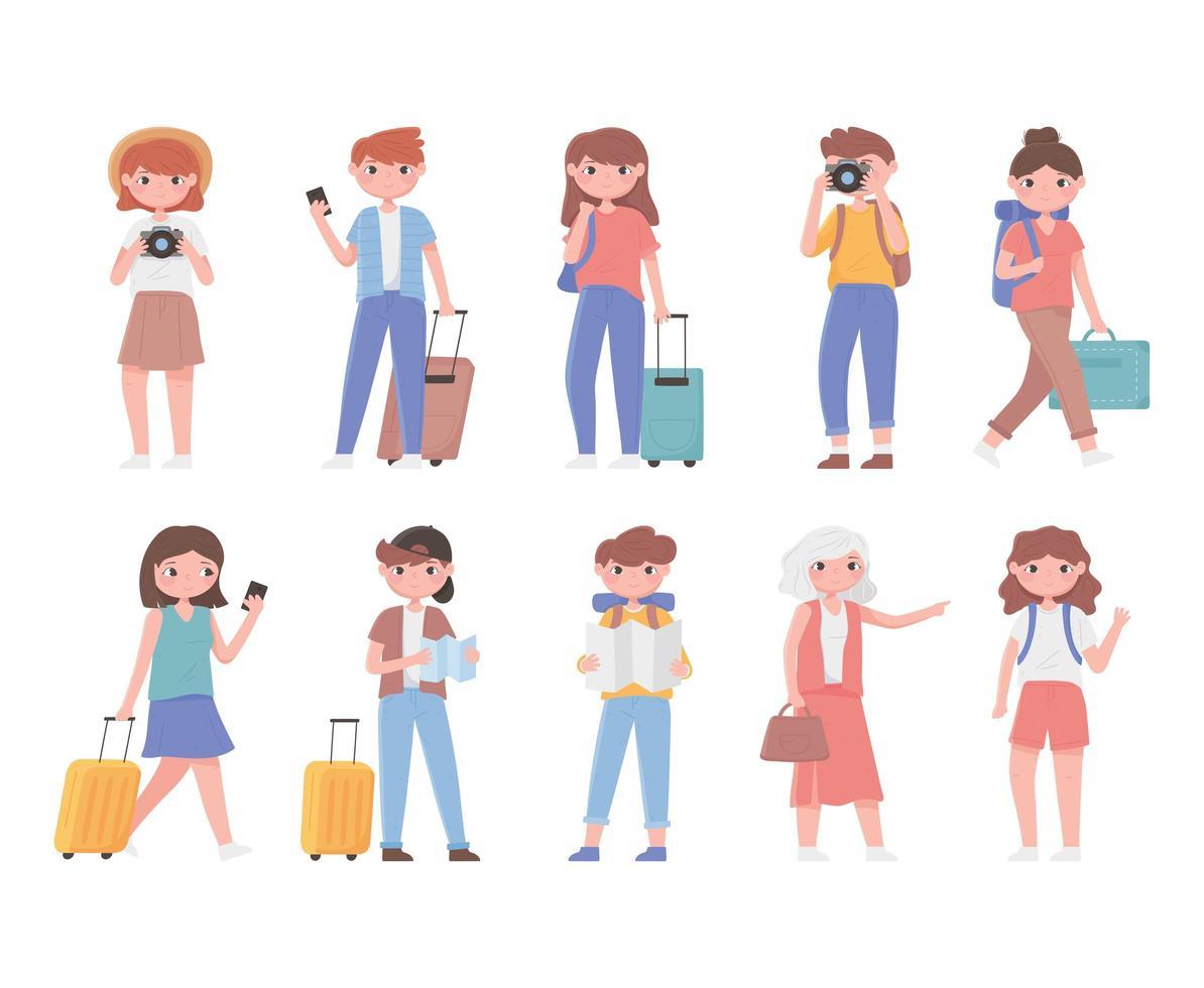insieme di turisti in viaggio vettore