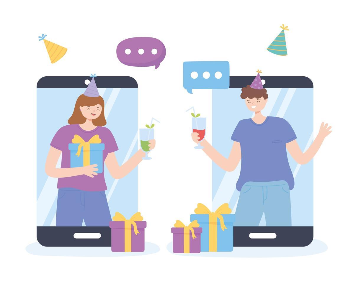 amici che fanno festa e festeggiano online vettore