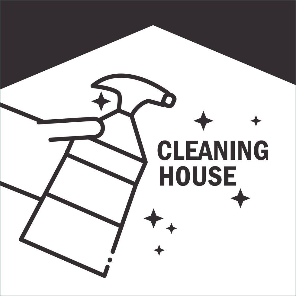 icona del pittogramma di servizio di pulizia domestica vettore