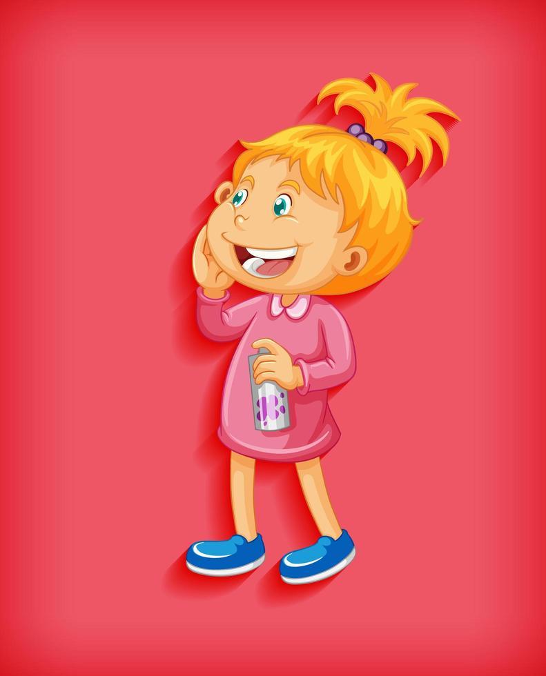 carino bambina sorridente in posizione eretta cartone animato vettore