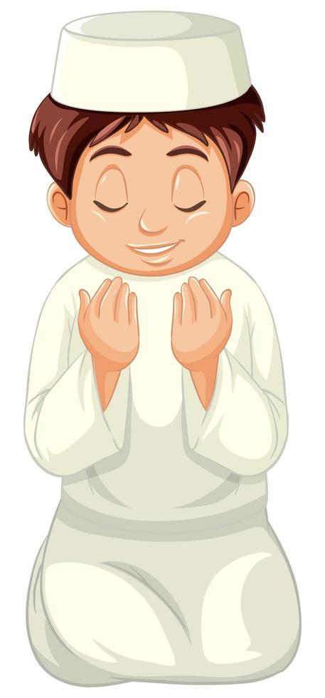 ragazzo arabo musulmano in abiti tradizionali in posizione di preghiera vettore