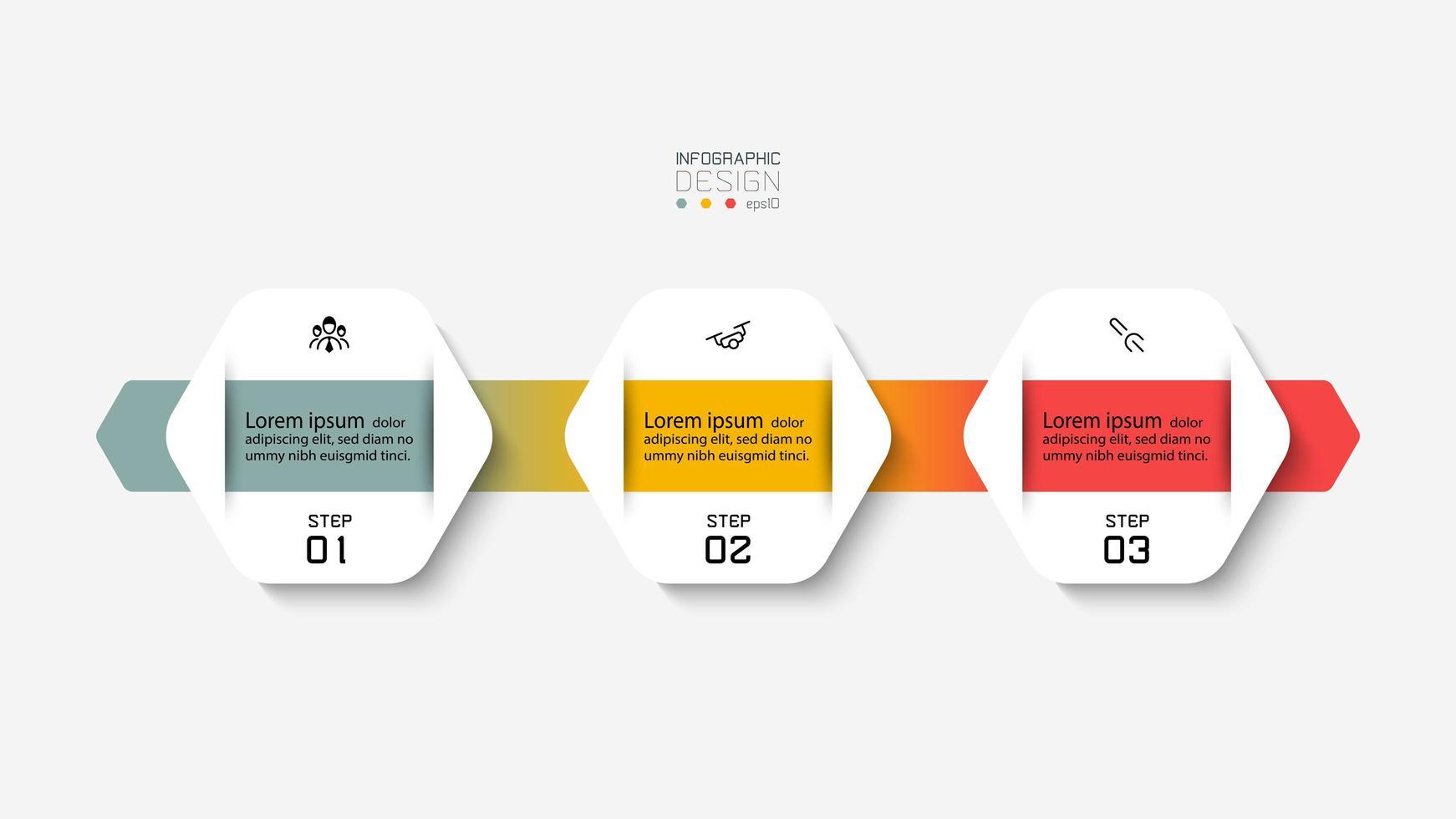 design infografico esagonale con nastro colorato vettore