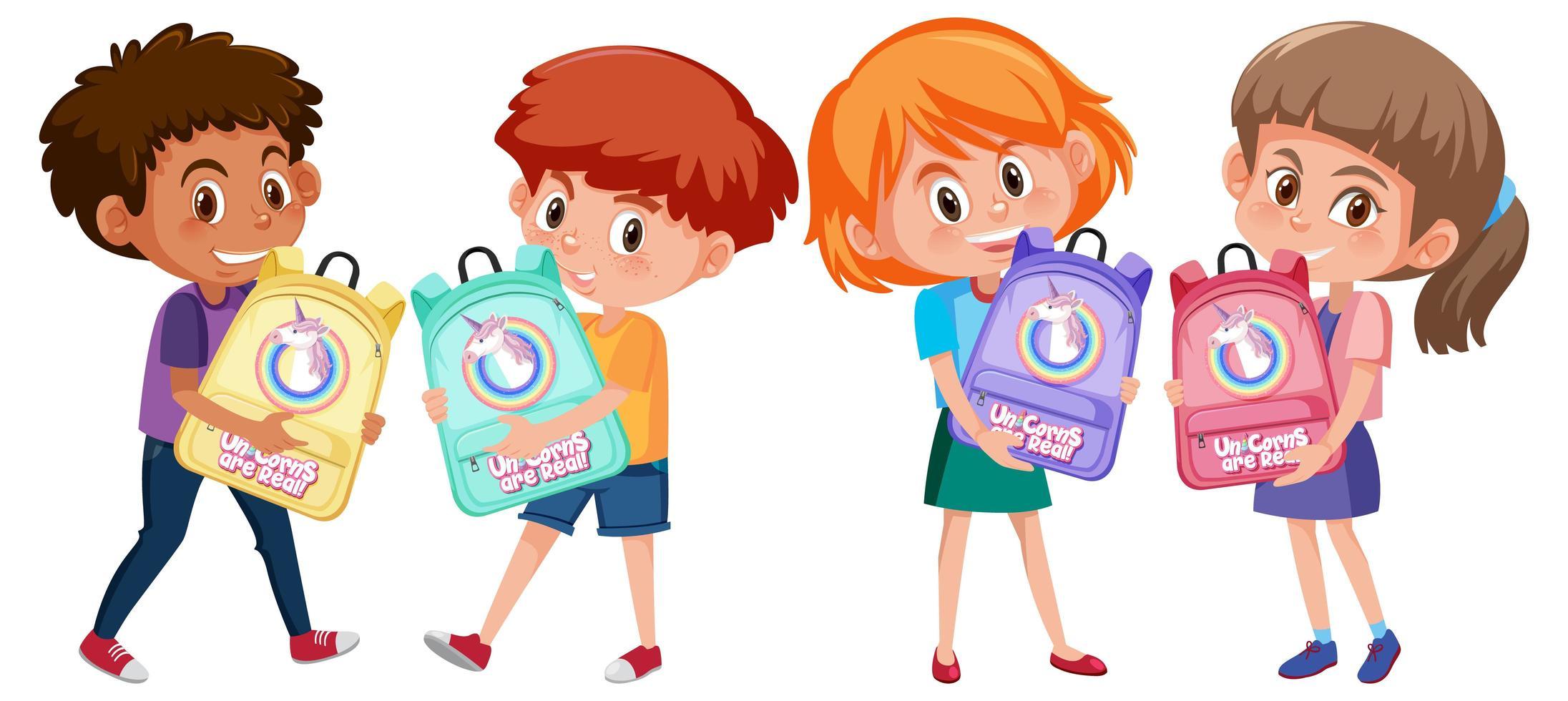 set di diversi bambini che tengono simpatico cartone animato zaino vettore