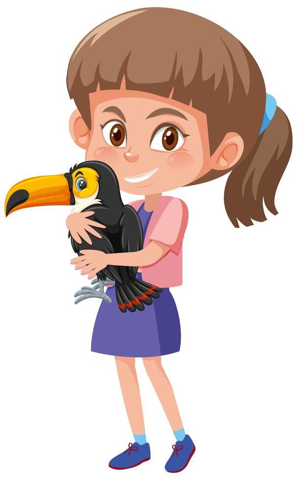ragazza con simpatico personaggio dei cartoni animati animale vettore