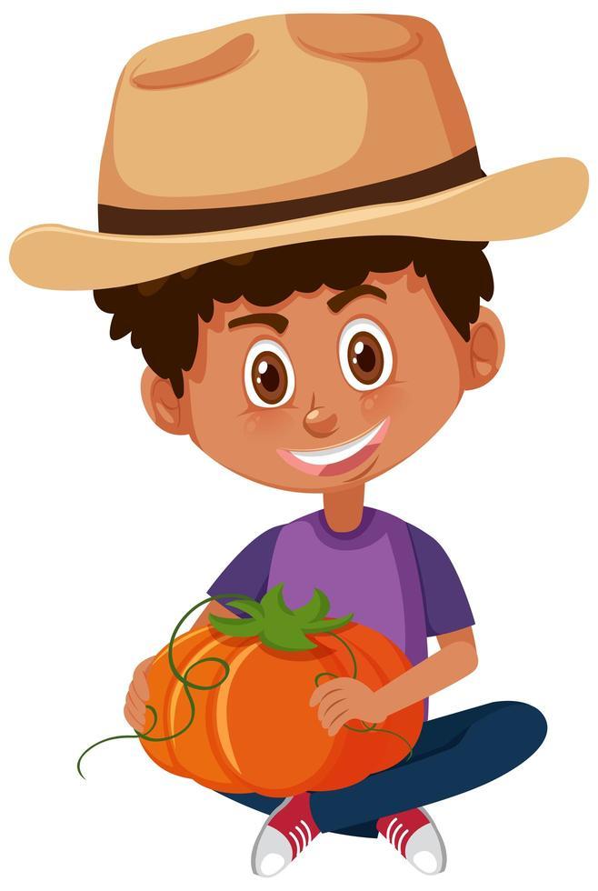 personaggio dei cartoni animati di bambini azienda verdura vettore