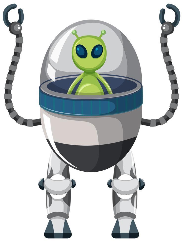 alieno sul robot su sfondo bianco vettore
