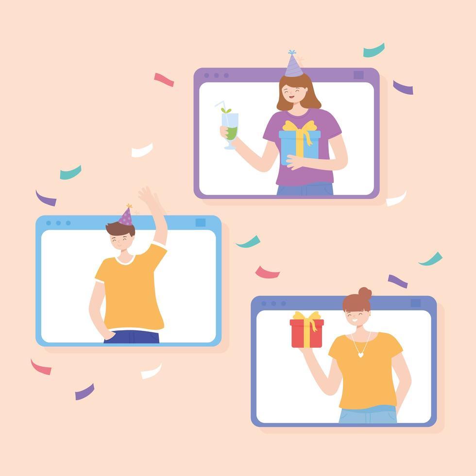 persone in una videochiamata che fanno festa online vettore