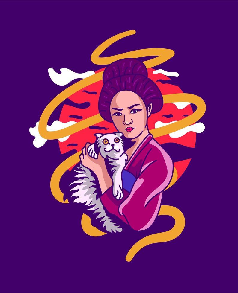 ragazza geisha con gatto vettore