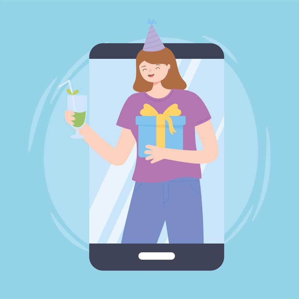 giovane donna che fa festa online vettore