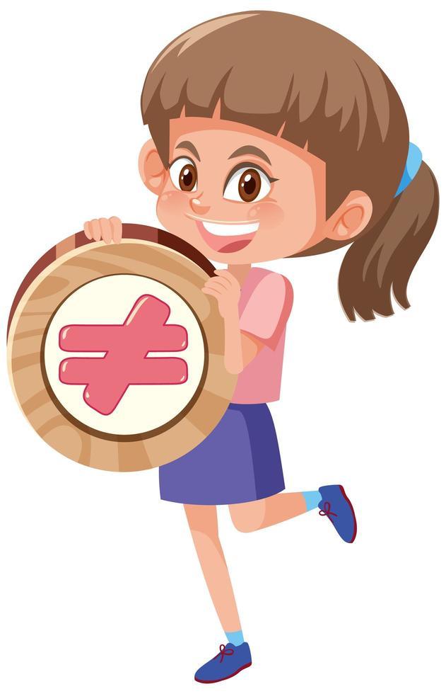 studentessa che tiene il simbolo di matematica di base vettore