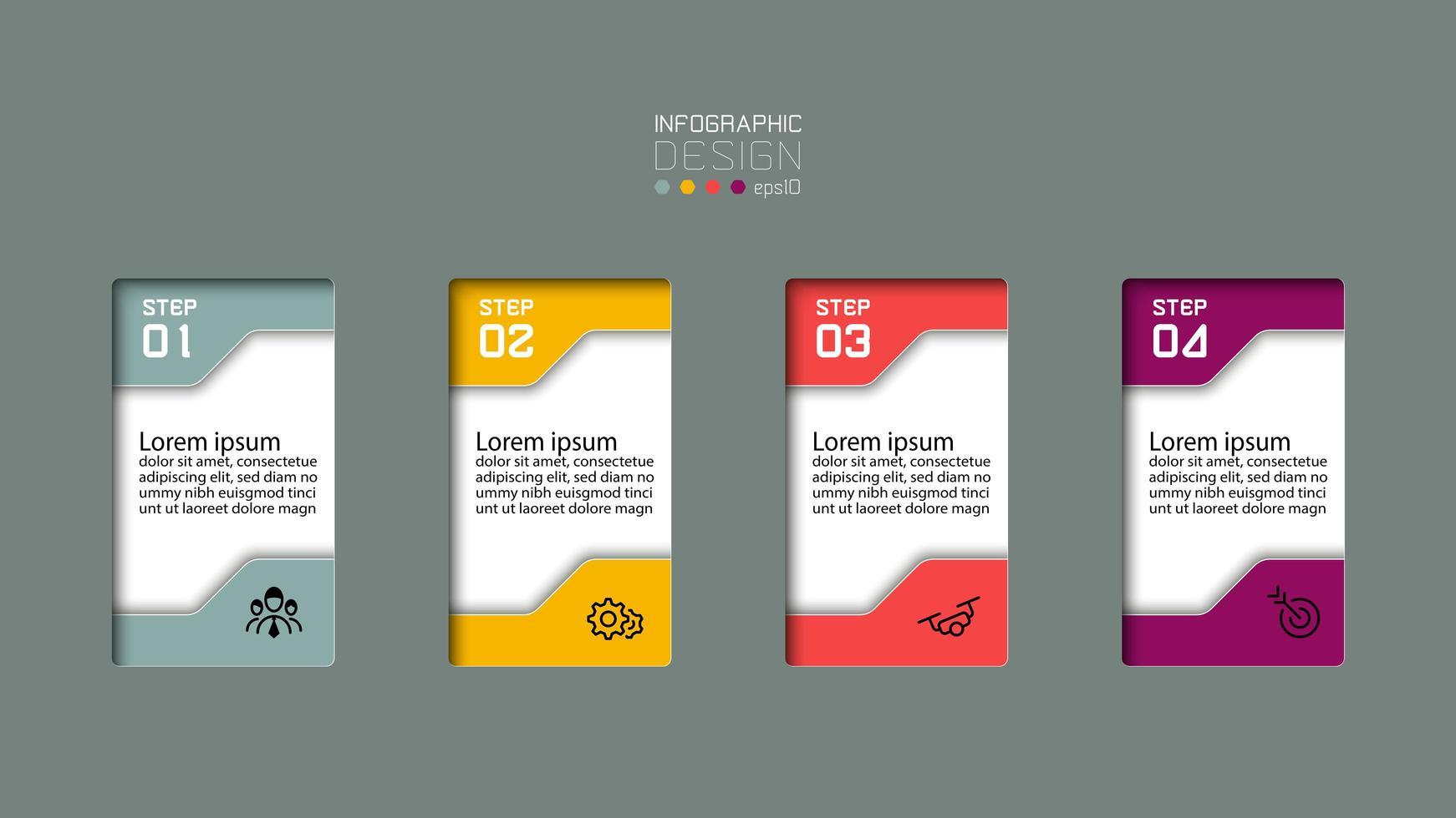serie di passaggi infografici colorati 3d rettangolari vettore