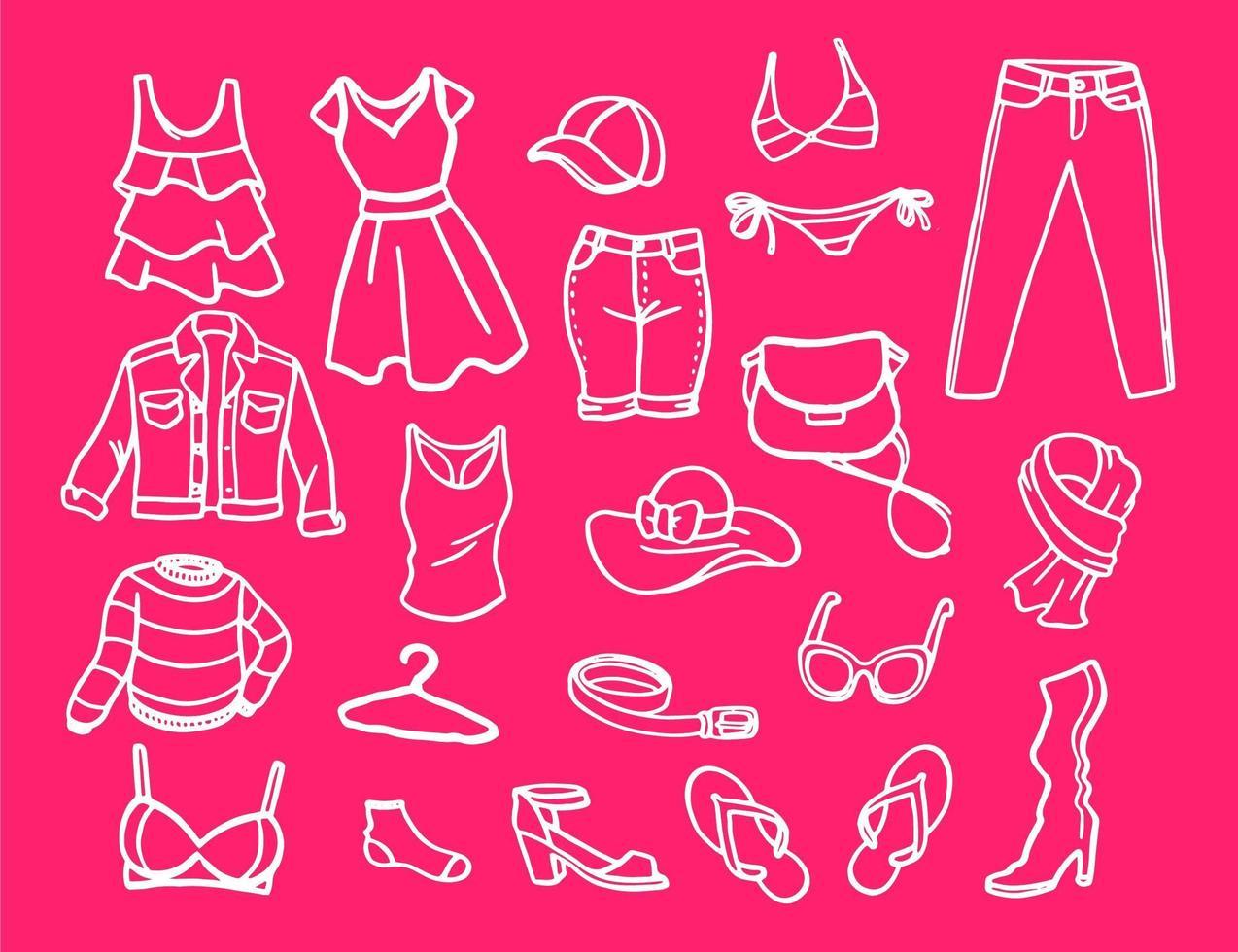 insieme di elementi di moda per le donne vettore
