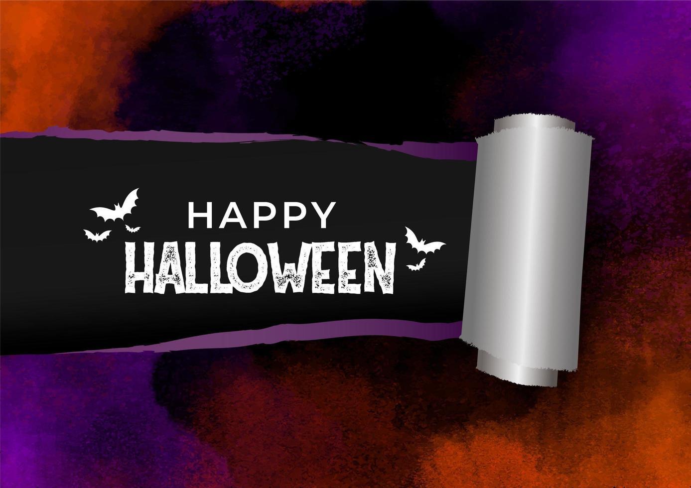striscione effetto carta acquerello strappato per halloween vettore