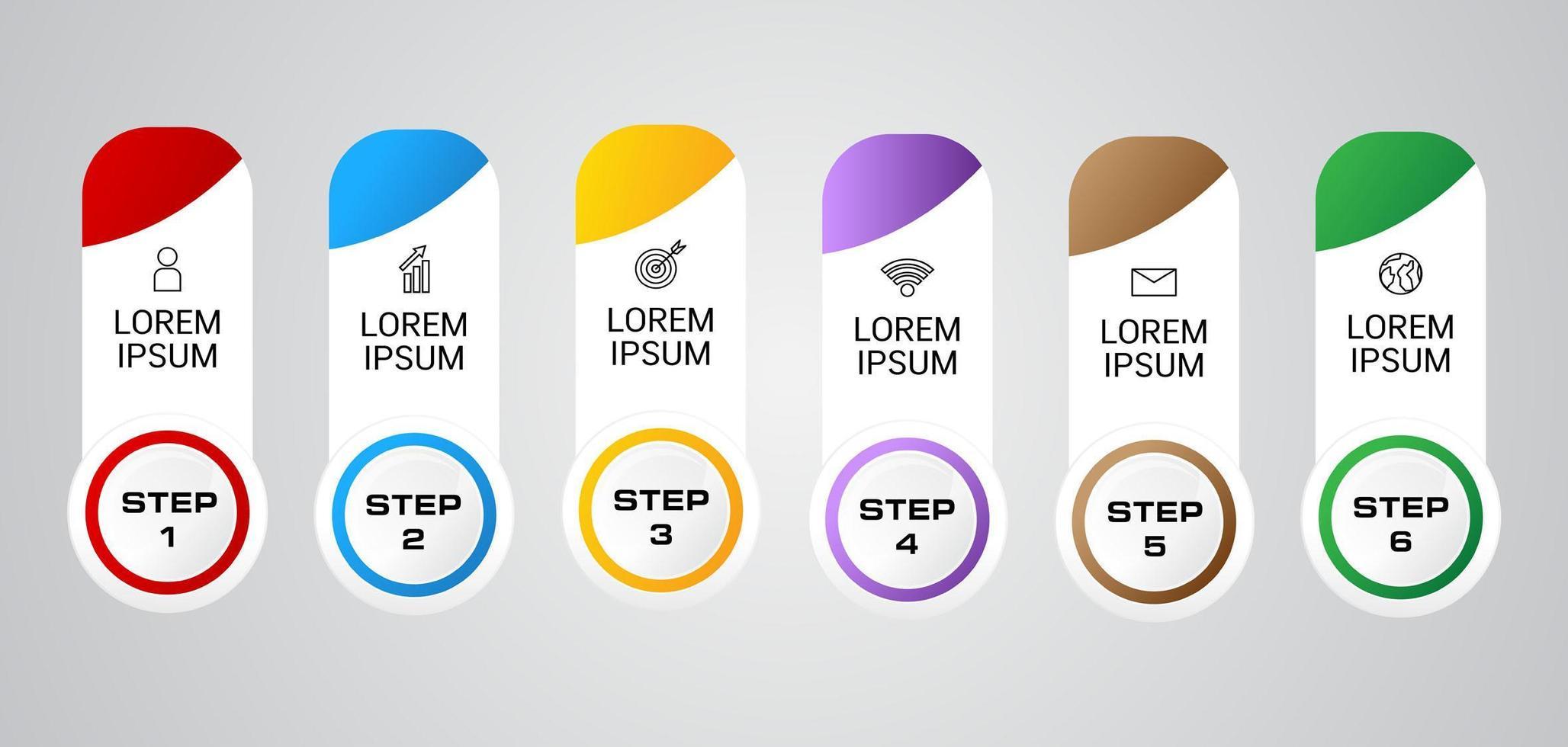 modello di passaggi colorati infografica vettore