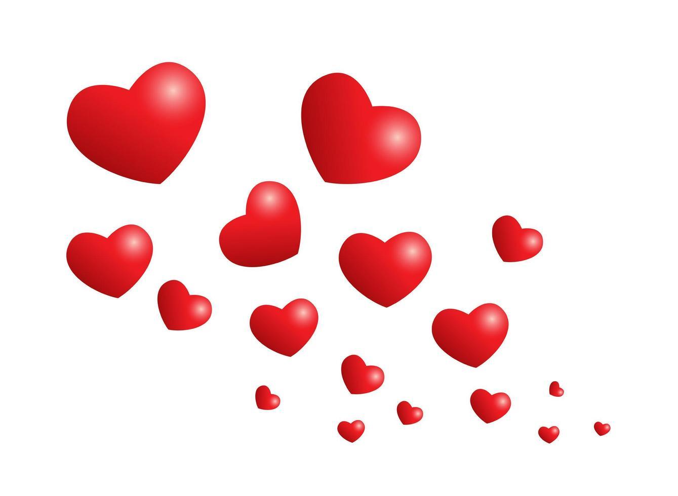 cuori rossi romantici vettore