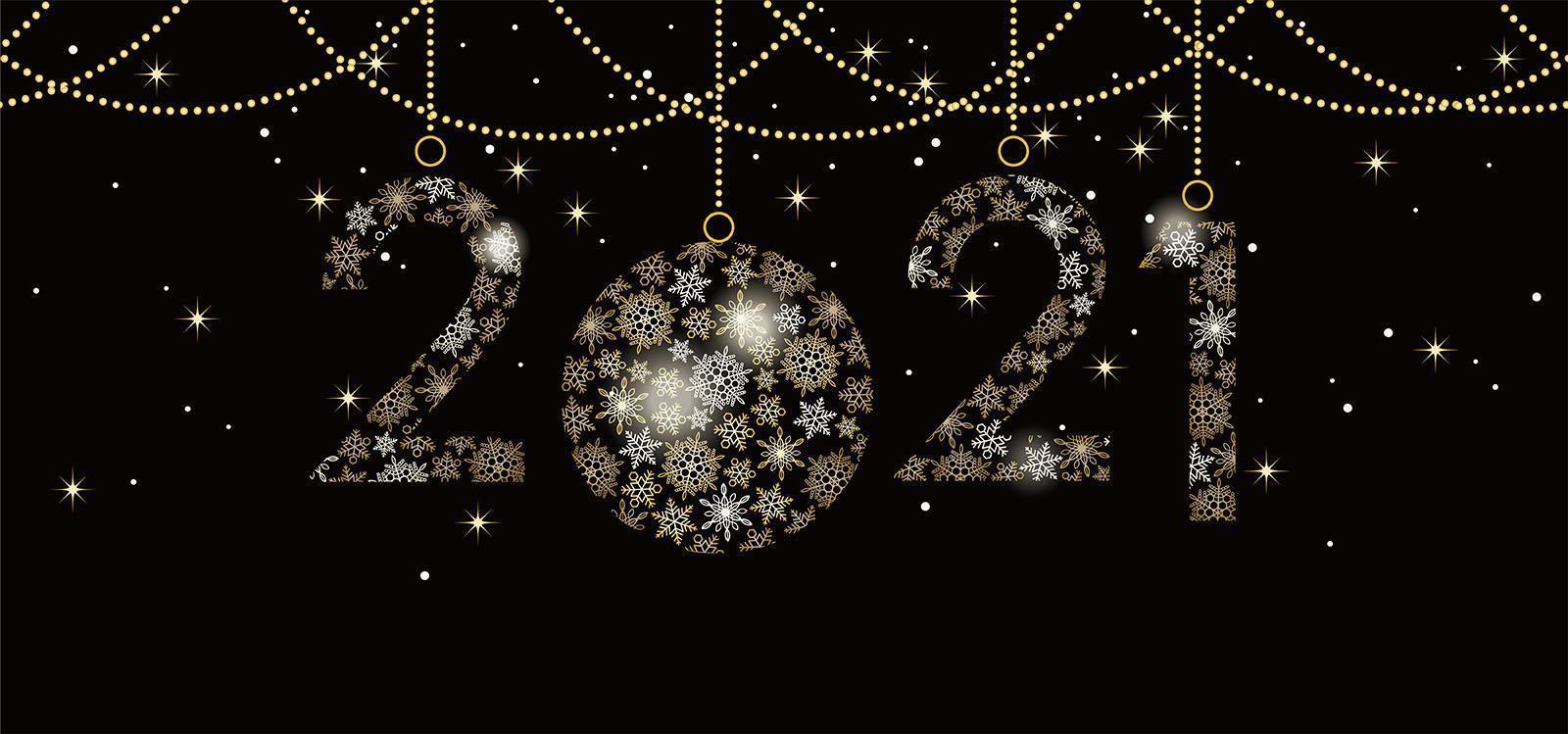 decorazioni festive per celebrare l'anno 2021 vettore