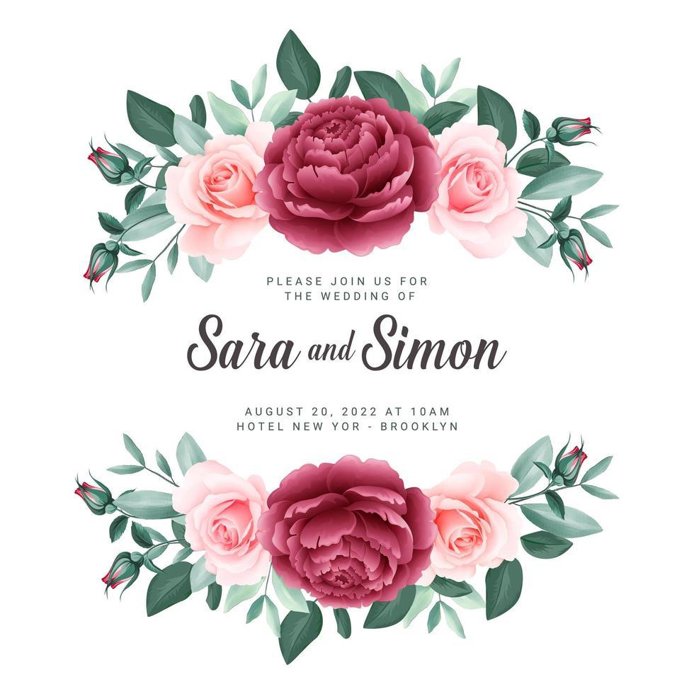 modello di carta di nozze banner floreale di rose vettore