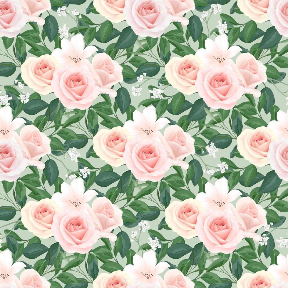 motivo floreale senza soluzione di continuità di rose blush vettore