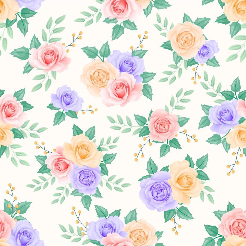 modello senza cuciture delle rose di colore morbido vettore