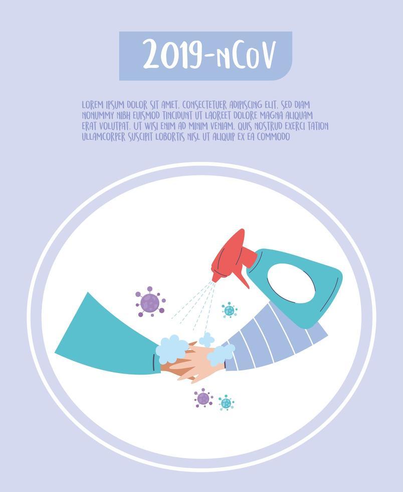 banner modello covid-19 per la prevenzione e la disinfezione da virus vettore