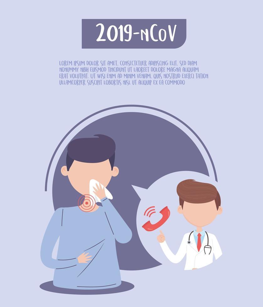 poster modello di sintomi covid-19 vettore