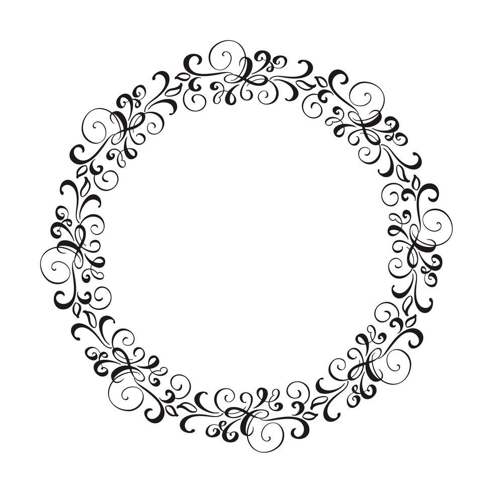 corona di cornice di nozze di vettore calligrafico rotondo.