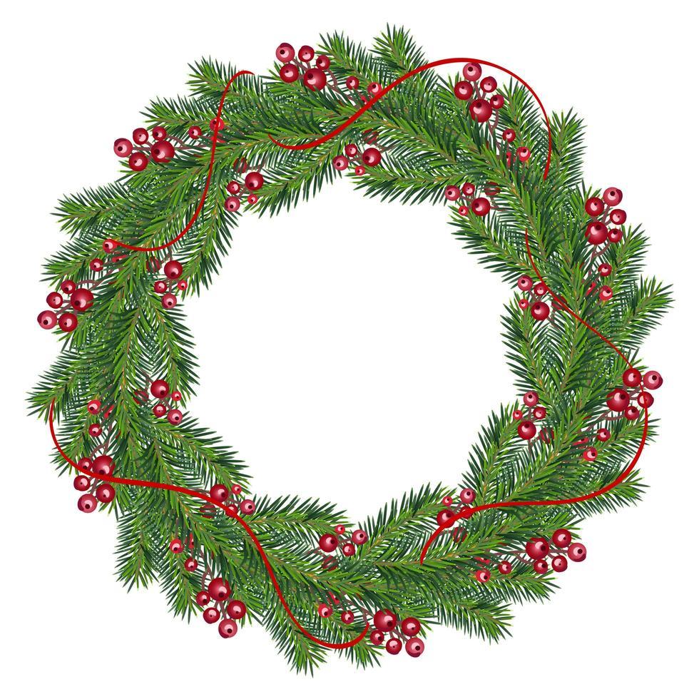 corona di Natale realistica con bacche rosse vettore