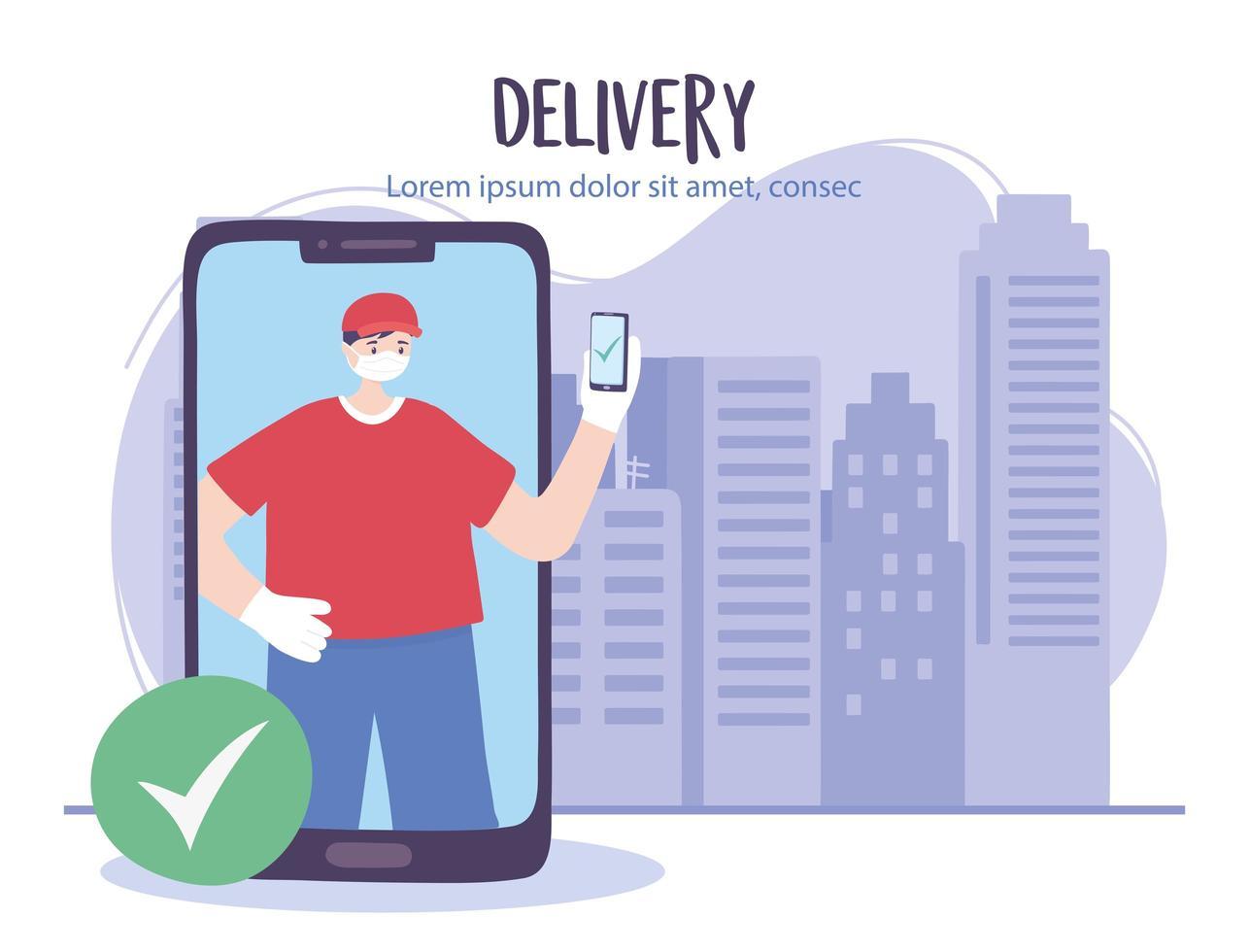 servizio di consegna online con corriere uomo e smartphone vettore