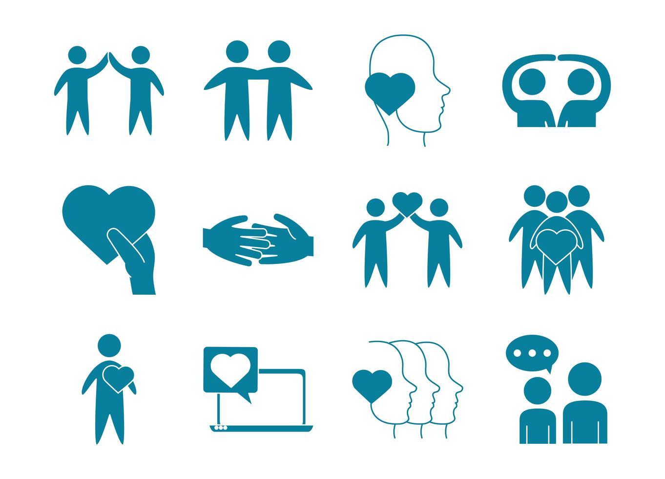set di icone di supporto amore e relazione vettore