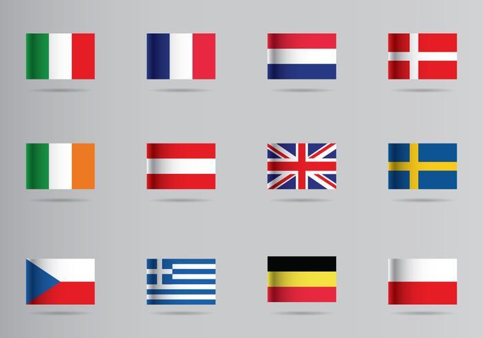 Icona delle bandiere europee vettore
