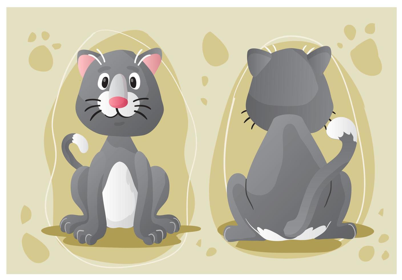 personaggio dei cartoni animati di gatto grigio, davanti e dietro vettore