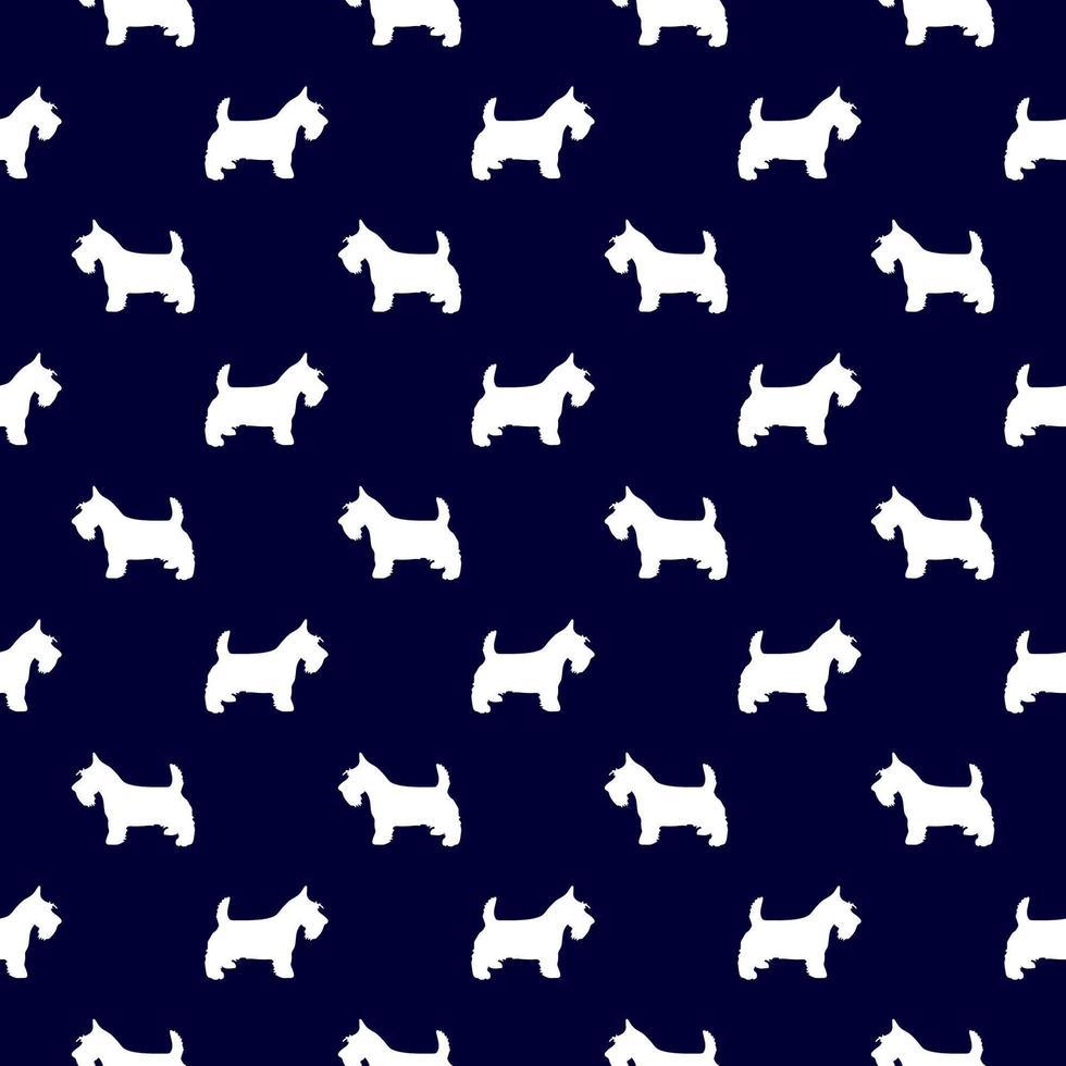 modello senza cuciture scottish terrier in blu marino e bianco vettore