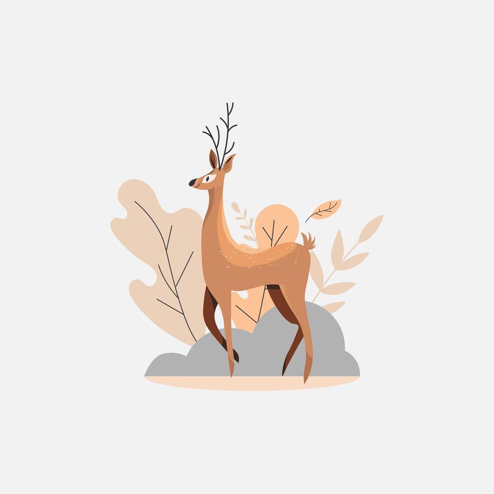 disegno animale simpatico cartone animato cervo vettore