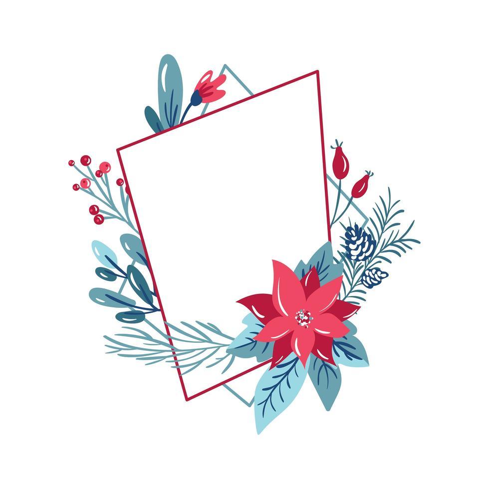 cornice poligonale geometrica con decorazione bouquet vettore
