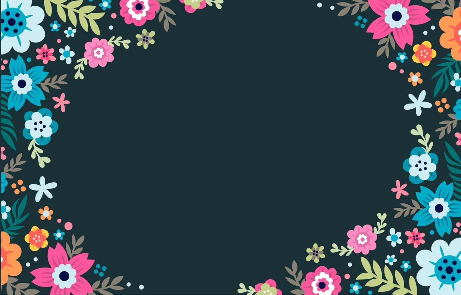 sfondo colorato cornice floreale vettore