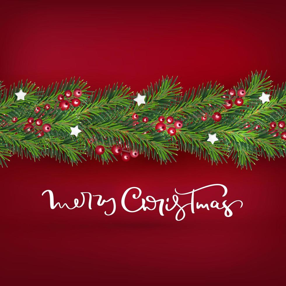 confine realistico albero di Natale e bacche ghirlanda vettore