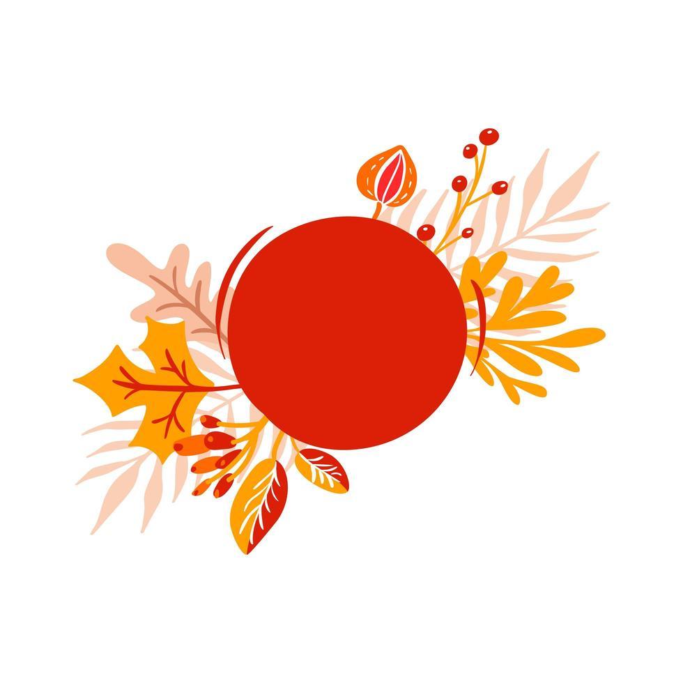 bouquet di foglie autunnali arancioni con cornice rossa per il testo vettore