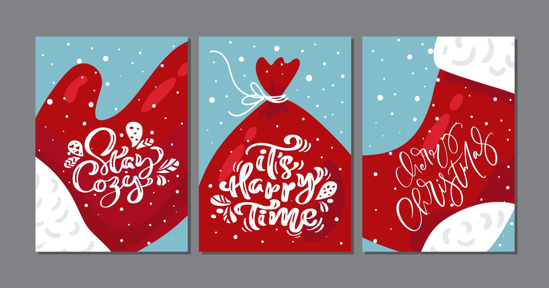 biglietto di auguri di Natale scandinavo con articoli invernali vettore