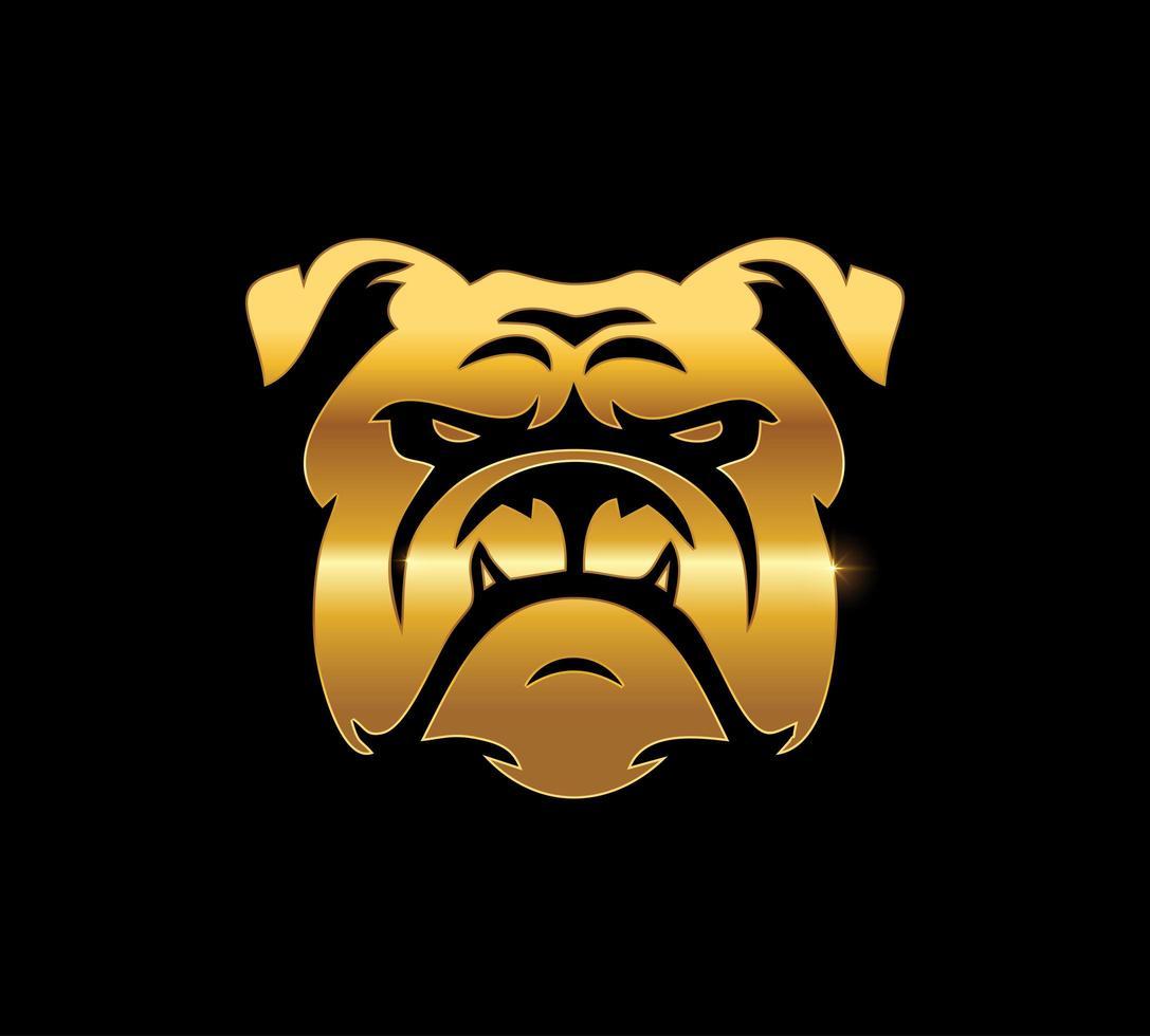 segno di bulldog dorato vettore