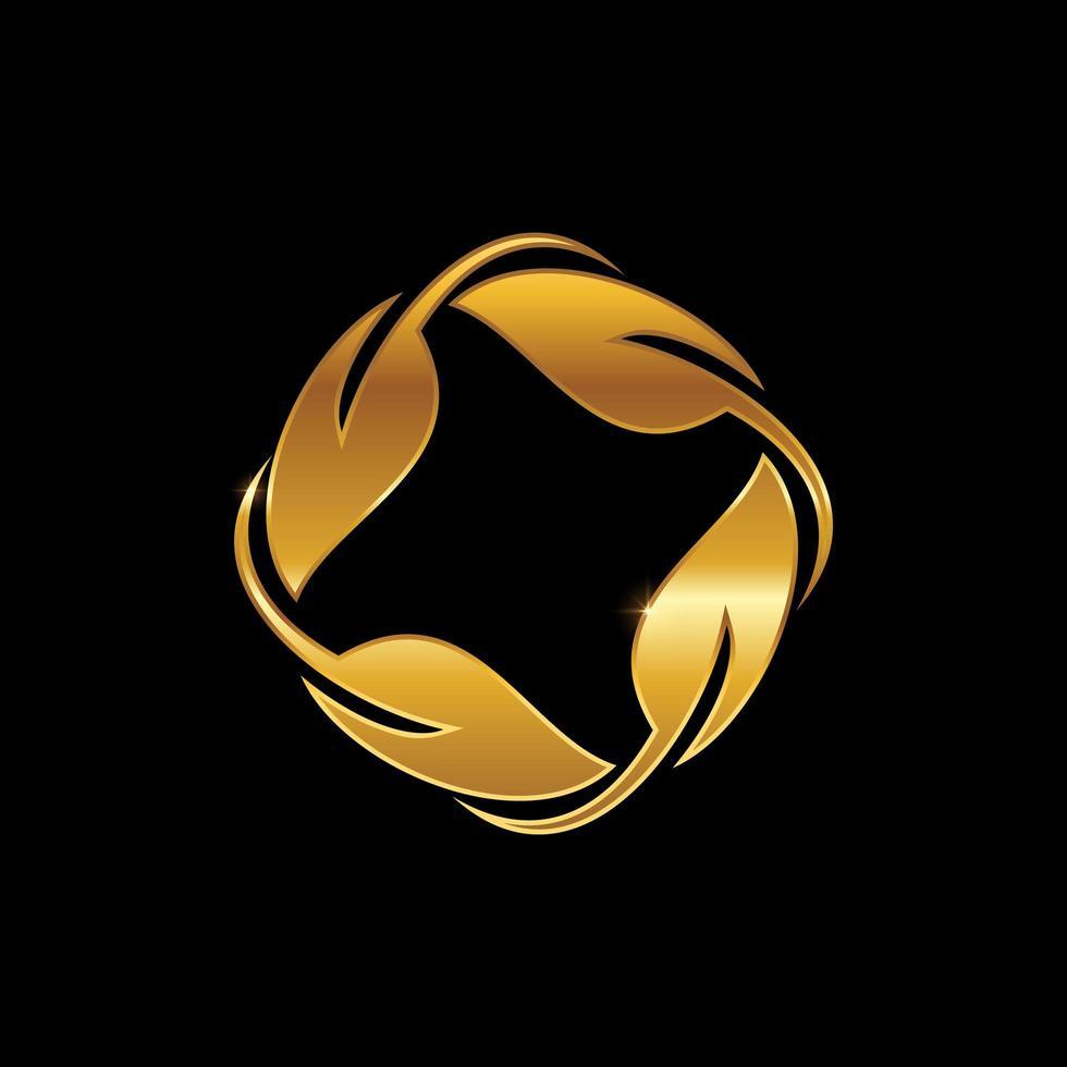 segno foglia cerchio d'oro vettore