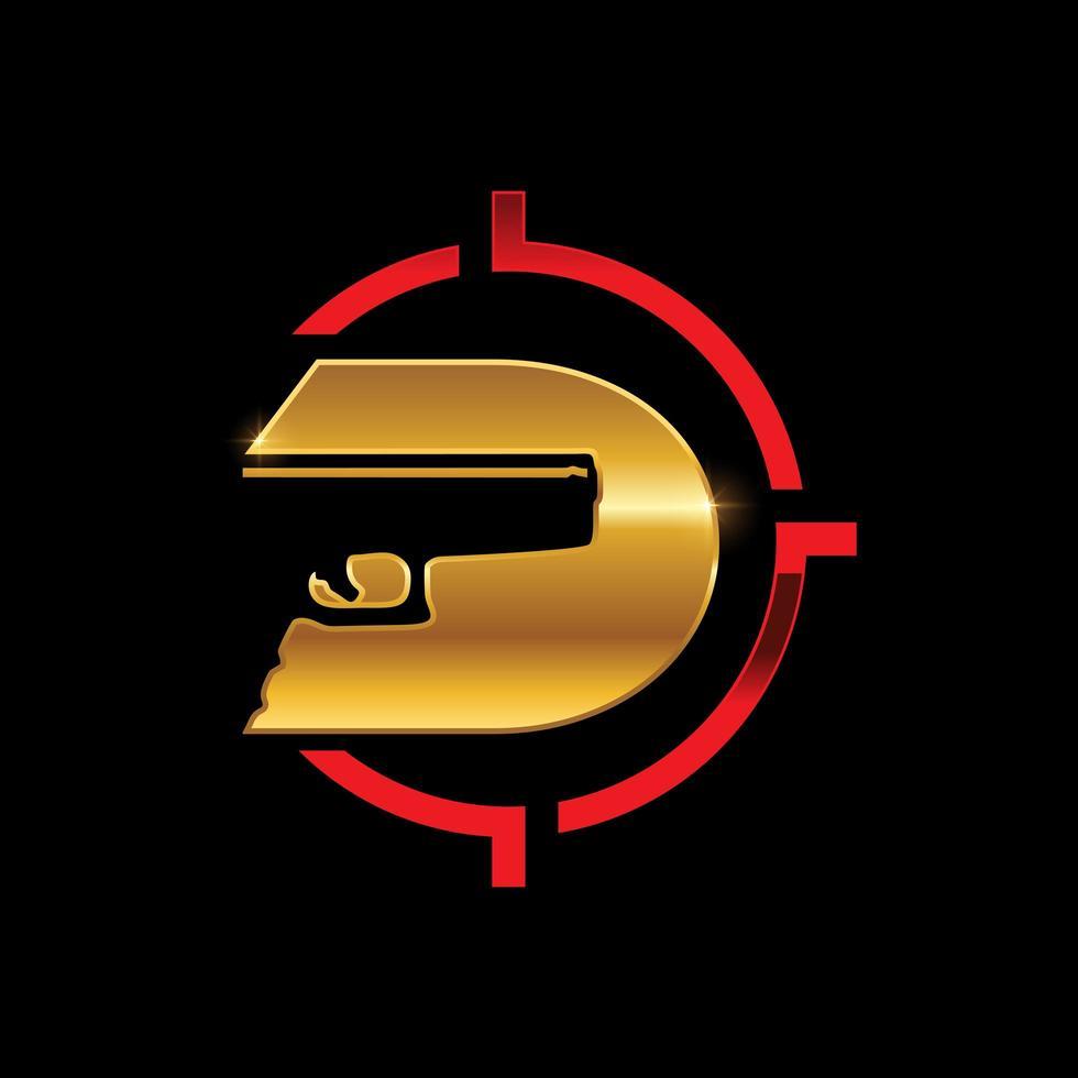 logo della lettera d monogramma pistola d'oro vettore