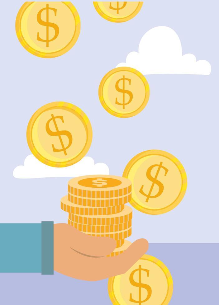 composizione di pagamento con mano e monete d'oro vettore