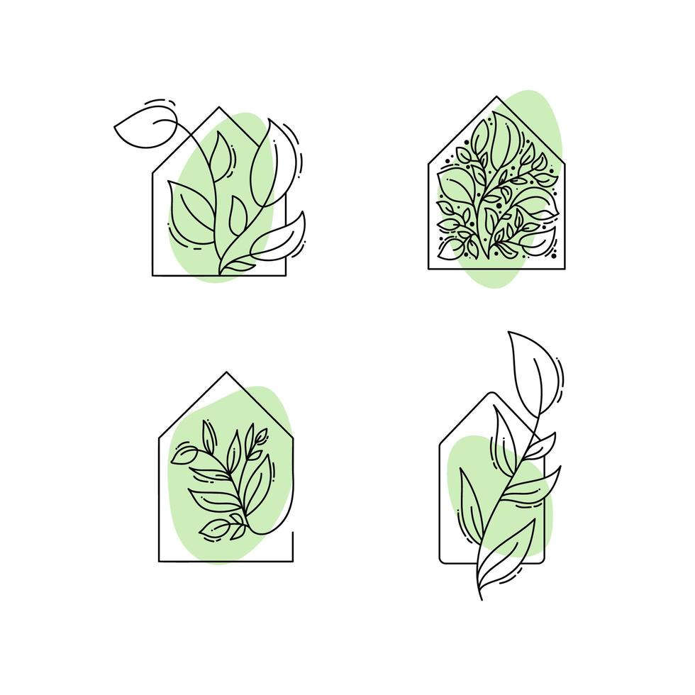 icone di casa eco con foglie vettore