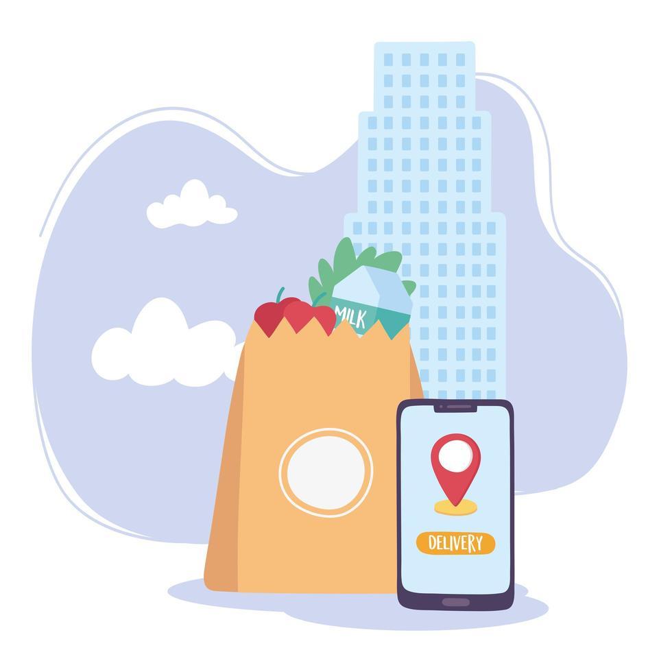 servizio di consegna cibo online vettore