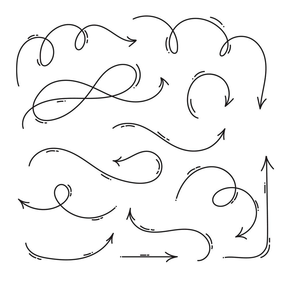 set di frecce monoline disegnate a mano vettore